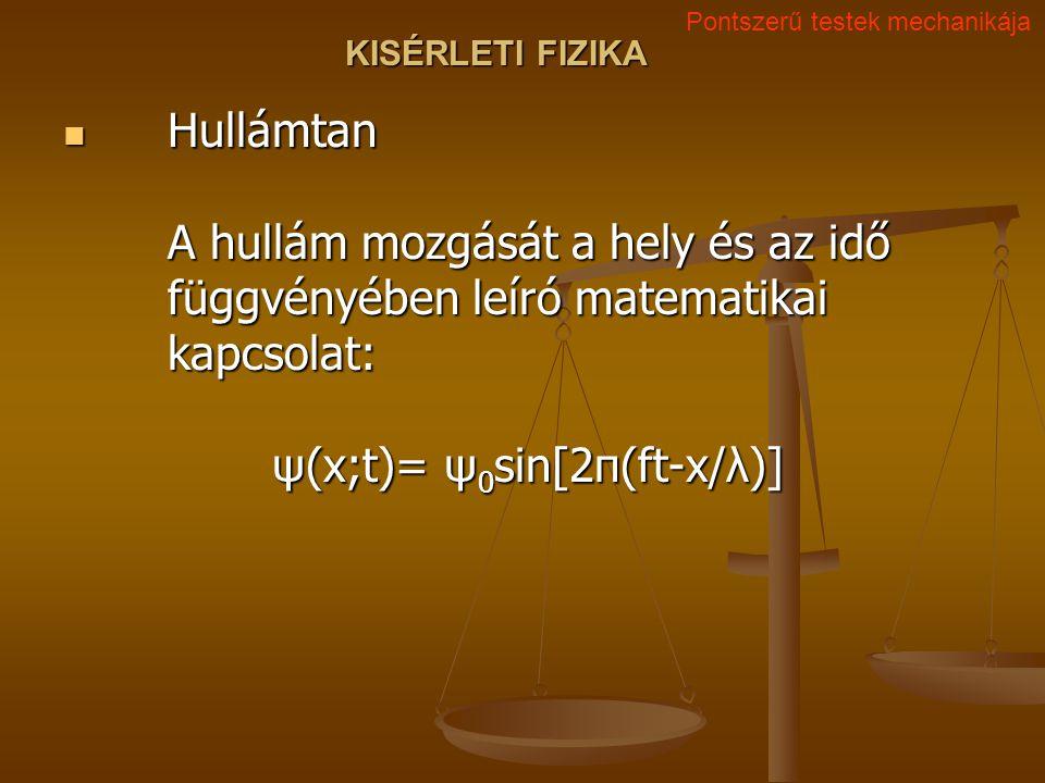 KISÉRLETI FIZIKA Hullámtan A hullám mozgását a hely és az idő függvényében leíró matematikai kapcsolat: ψ(x;t)= ψ 0 sin[2π(ft-x/λ)] Hullámtan A hullám