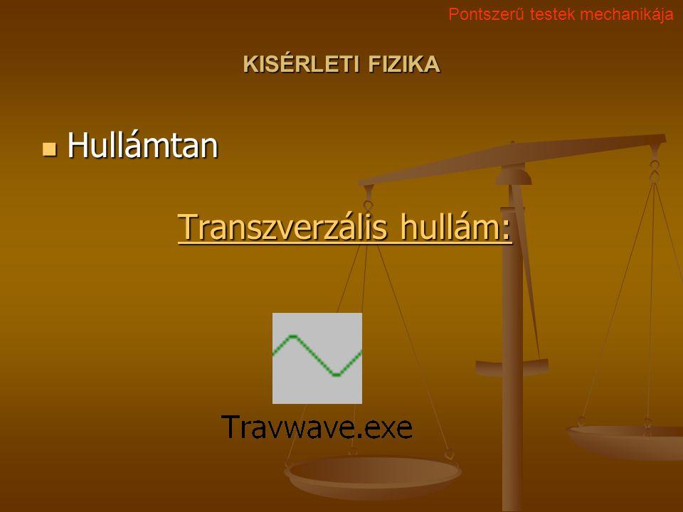 KISÉRLETI FIZIKA Hullámtan Transzverzális hullám: Hullámtan Transzverzális hullám: Transzverzális hullám: Transzverzális hullám: Pontszerű testek mech