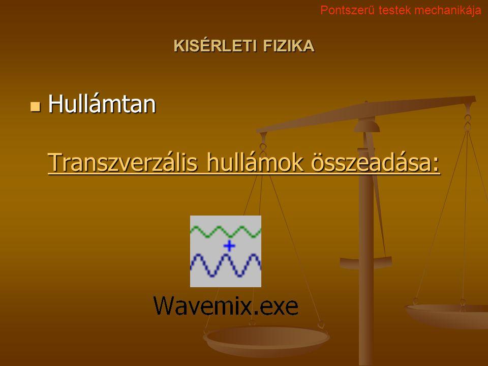 KISÉRLETI FIZIKA Hullámtan Transzverzális hullámok összeadása: Hullámtan Transzverzális hullámok összeadása: Transzverzális hullámok összeadása: Trans