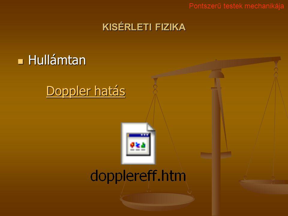 KISÉRLETI FIZIKA Hullámtan Doppler hatás Hullámtan Doppler hatás Doppler hatás Doppler hatás Pontszerű testek mechanikája