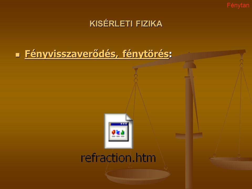 KISÉRLETI FIZIKA Fényvisszaverődés, fénytörés: Fényvisszaverődés, fénytörés: Fényvisszaverődés, fénytörés Fényvisszaverődés, fénytörés Fénytan