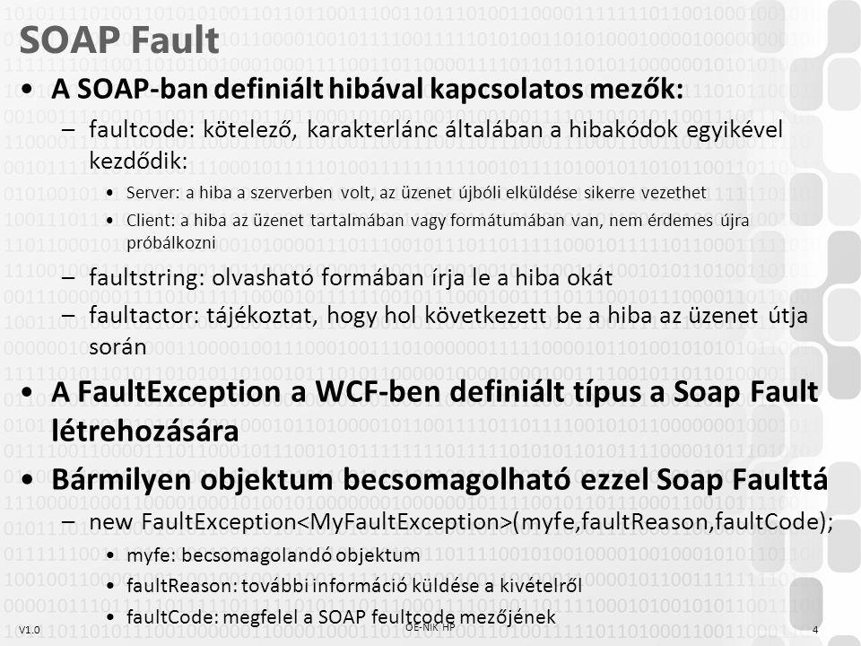 V1.0 Kivételkezelési információk a szerződésben A WCF szerződésnek tartalmaznia kell a kivételkezelésre vonatkozó információkat [OperationContract] [FaultContract(typeof(BMIFaultException))] double GetBMI(double weight, double height); –Ha a szerződés nem tartalmazza a FaultContract információt, akkor a kliens mindent unknowfaultexceptions kivételként kap el –A FaultContract információ megjelenik a szolgáltatás wsdl-jében Saját objektumot érdemes átdobni, hogy a megfelelő adatokat adjuk át –A átdobandó objektum osztályát a szerződésben definiáljuk [DataContract] public class BMIFaultException { [DataMember] public string Message{get;set;} } 5 OE-NIK HP