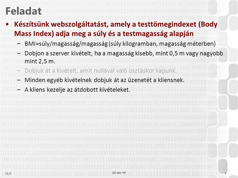 V1.07 OE-NIK HP Feladat Készítsünk webszolgáltatást, amely a testtömegindexet (Body Mass Index) adja meg a súly és a testmagasság alapján –BMI=súly/magasság/magasság (súly kilogramban, magasság méterben) –Dobjon a szerver kivételt, ha a magasság kisebb, mint 0,5 m vagy nagyobb mint 2,5 m.