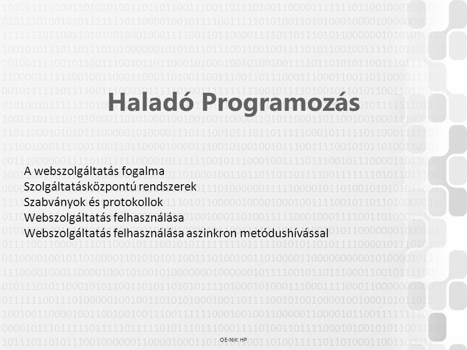 OE-NIK HP Haladó Programozás A webszolgáltatás fogalma Szolgáltatásközpontú rendszerek Szabványok és protokollok Webszolgáltatás felhasználása Webszol