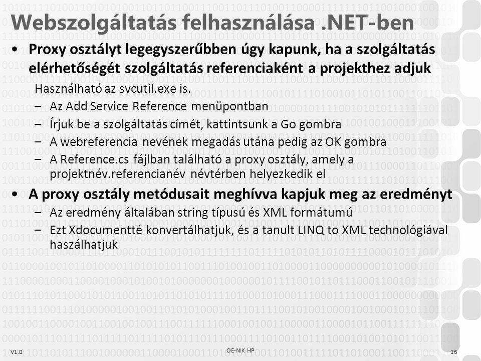 V1.0 Webszolgáltatás felhasználása.NET-ben Proxy osztályt legegyszerűbben úgy kapunk, ha a szolgáltatás elérhetőségét szolgáltatás referenciaként a pr