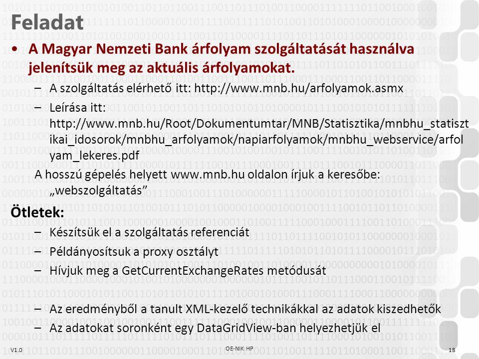 V1.018 OE-NIK HP Feladat A Magyar Nemzeti Bank árfolyam szolgáltatását használva jelenítsük meg az aktuális árfolyamokat. –A szolgáltatás elérhető itt