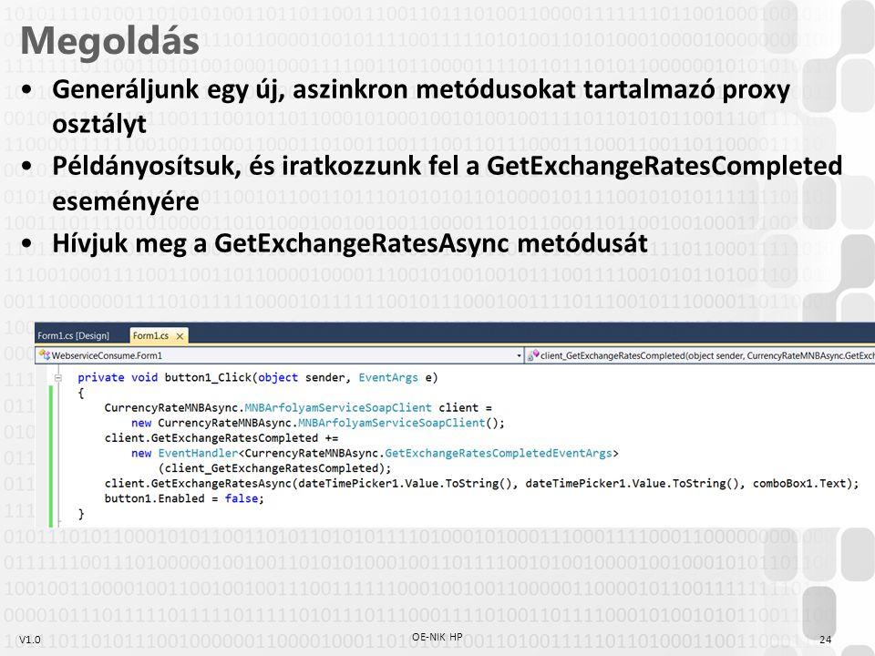 V1.0 Megoldás Generáljunk egy új, aszinkron metódusokat tartalmazó proxy osztályt Példányosítsuk, és iratkozzunk fel a GetExchangeRatesCompleted esemé