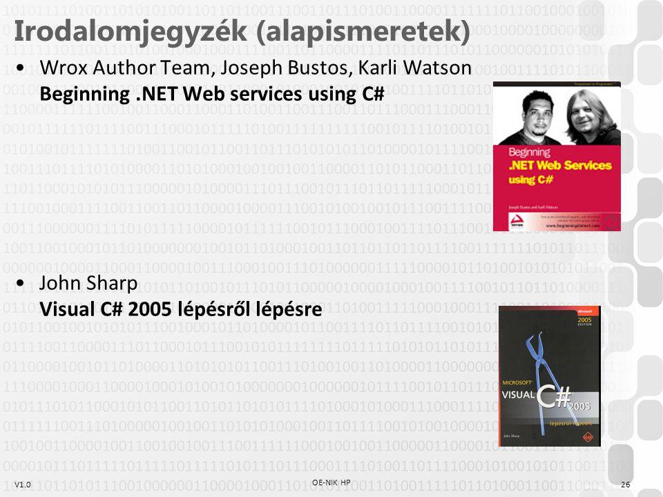 V1.026 OE-NIK HP Irodalomjegyzék (alapismeretek) Wrox Author Team, Joseph Bustos, Karli Watson Beginning.NET Web services using C# John Sharp Visual C