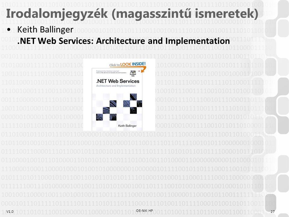 V1.027 OE-NIK HP Irodalomjegyzék (magasszintű ismeretek) Keith Ballinger.NET Web Services: Architecture and Implementation