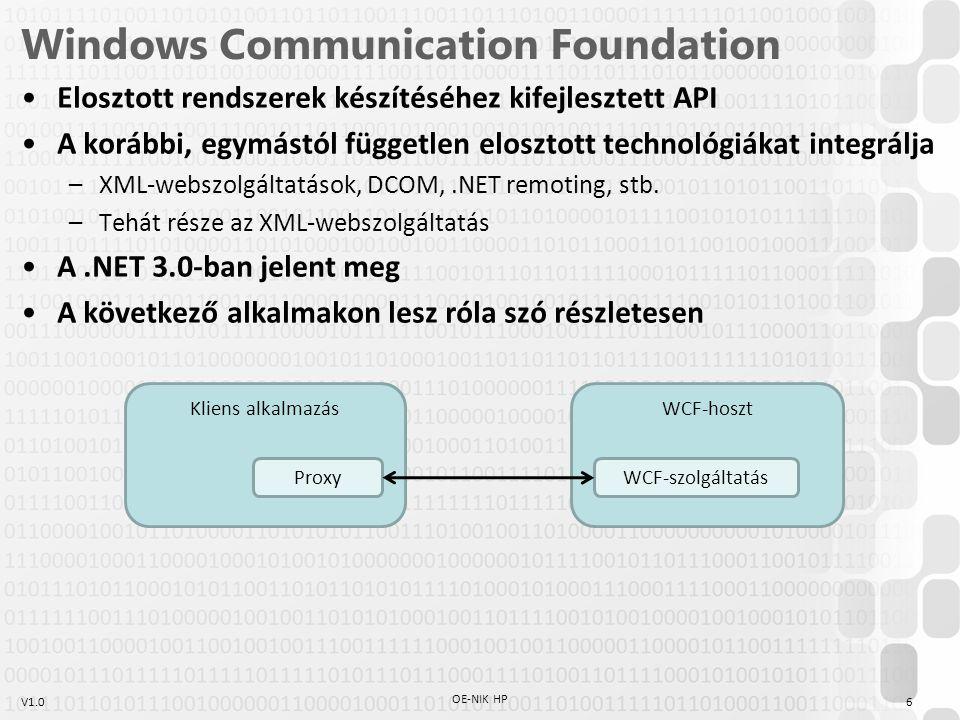 V1.0 Windows Communication Foundation Elosztott rendszerek készítéséhez kifejlesztett API A korábbi, egymástól független elosztott technológiákat inte