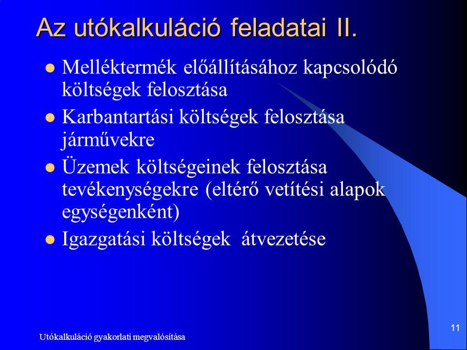 Utókalkuláció gyakorlati megvalósítása 11 Az utókalkuláció feladatai II. Melléktermék előállításához kapcsolódó költségek felosztása Karbantartási köl
