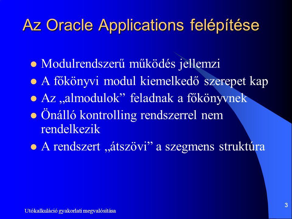 Utókalkuláció gyakorlati megvalósítása 3 Az Oracle Applications felépítése Modulrendszerű működés jellemzi A főkönyvi modul kiemelkedő szerepet kap Az