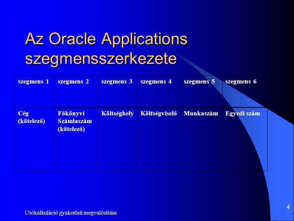 Utókalkuláció gyakorlati megvalósítása 4 Az Oracle Applications szegmensszerkezete szegmens 1szegmens 2szegmens 3szegmens 4szegmens 5szegmens 6 Cég (k