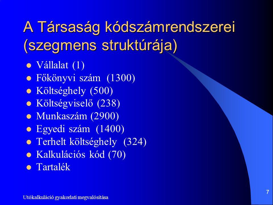 Utókalkuláció gyakorlati megvalósítása 7 A Társaság kódszámrendszerei (szegmens struktúrája) Vállalat (1) Főkönyvi szám (1300) Költséghely (500) Költs