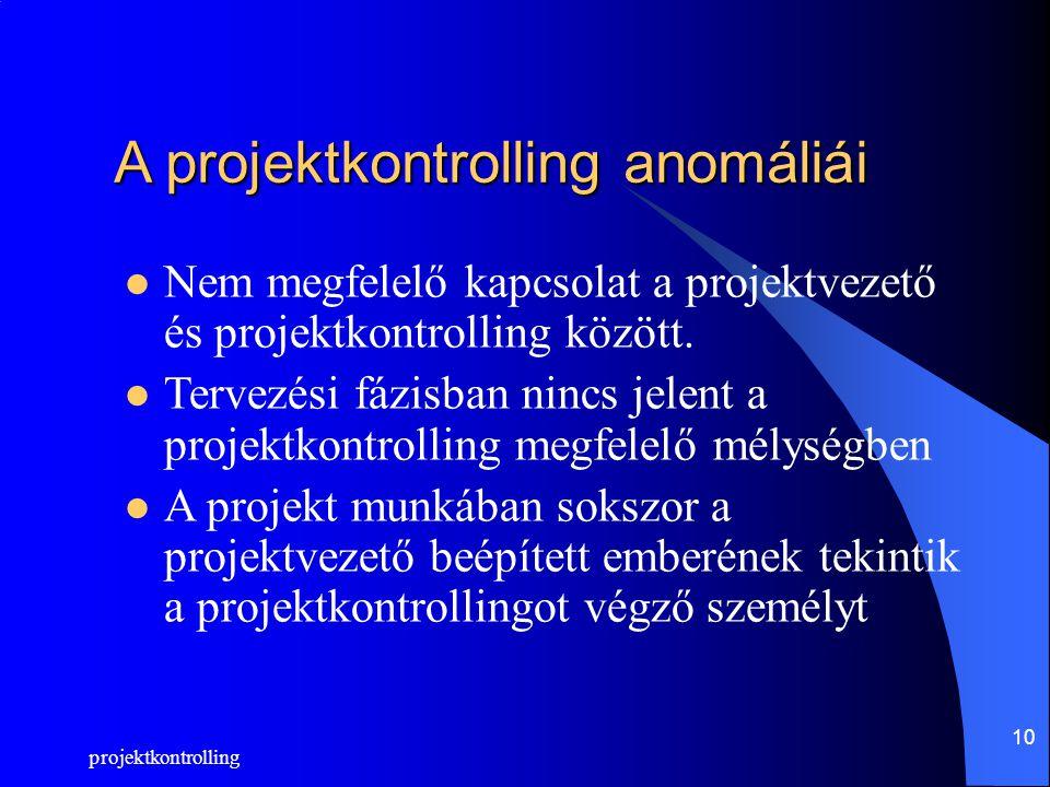 projektkontrolling 10 A projektkontrolling anomáliái Nem megfelelő kapcsolat a projektvezető és projektkontrolling között.