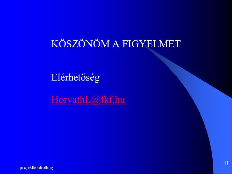 projektkontrolling 11 KÖSZÖNÖM A FIGYELMET Elérhetőség HorvathL@fkf.hu