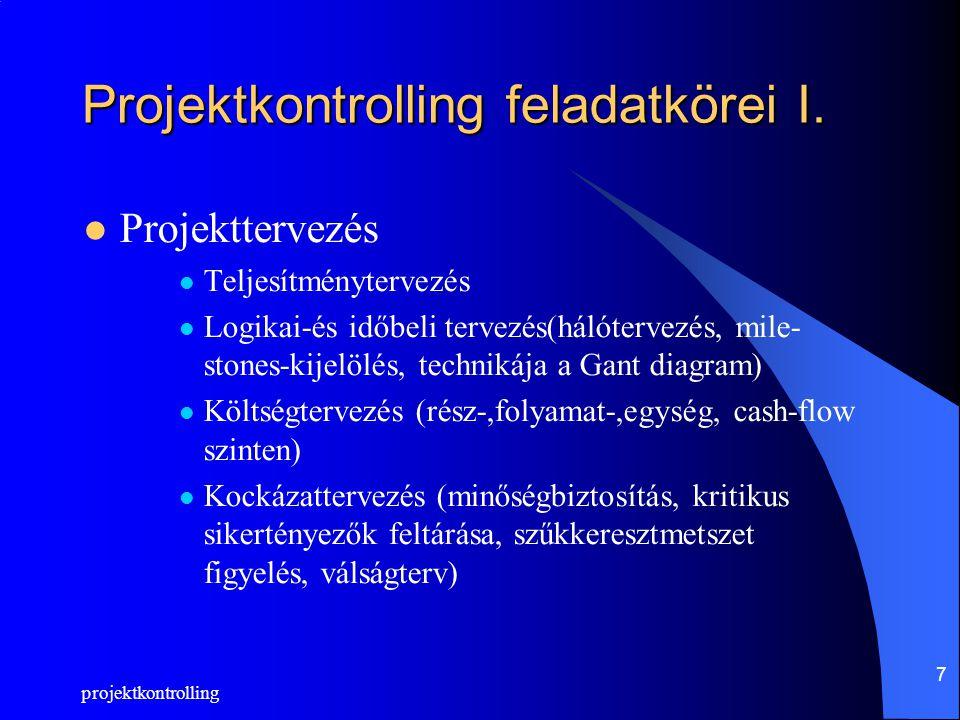 projektkontrolling 7 Projektkontrolling feladatkörei I. Projekttervezés Teljesítménytervezés Logikai-és időbeli tervezés(hálótervezés, mile- stones-ki