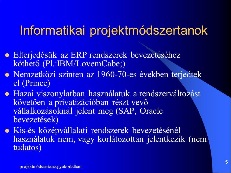 projektmódszertan a gyakorlatban 6 Oracle AIM módszertan Applications Implementation Method, Alkalmazás Bevezetési Módszertan Oracle Applications ERP rendszer bevezetéséhez fejlesztette ki az Oracle A klasszikus projekt módszertanokból nőtt ki.