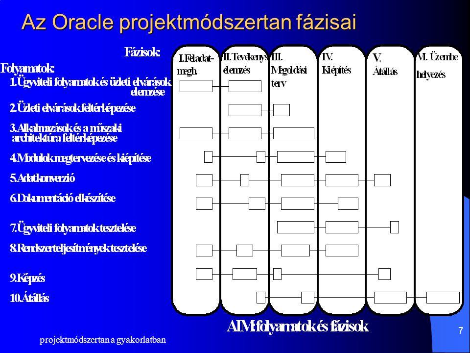 projektmódszertan a gyakorlatban 8 Erőforrás ütemezés Emberi erőforrások –Jól definiált szerepkörök –Projektvezetés folyamatos kontrolja szükséges –Funkcionális szakértő és Kulcsfelhasználók kiemelkedő szerepe Technikai erőforrások –Korszerű technika alkalmazását követeli –Rendszerkörnyezet a megoldási javaslat végére szükséges