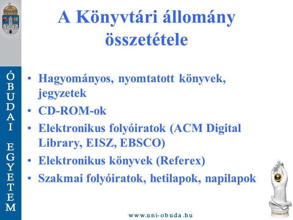 A Könyvtári állomány összetétele Hagyományos, nyomtatott könyvek, jegyzetek CD-ROM-ok Elektronikus folyóiratok (ACM Digital Library, EISZ, EBSCO) Elektronikus könyvek (Referex) Szakmai folyóiratok, hetilapok, napilapok