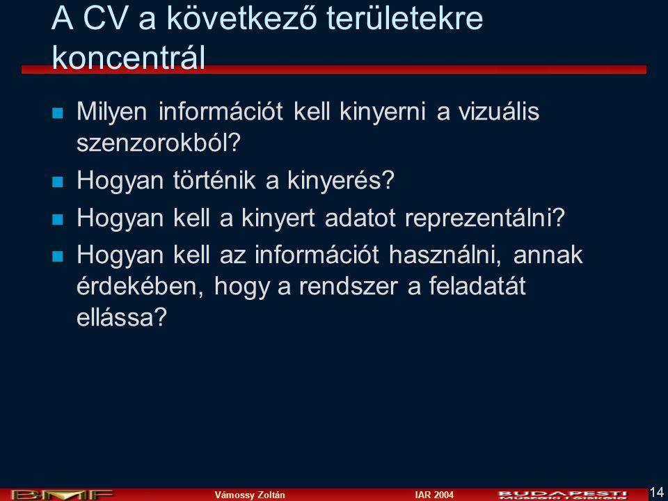 Vámossy Zoltán IAR 2004 14 A CV a következő területekre koncentrál n Milyen információt kell kinyerni a vizuális szenzorokból? n Hogyan történik a kin