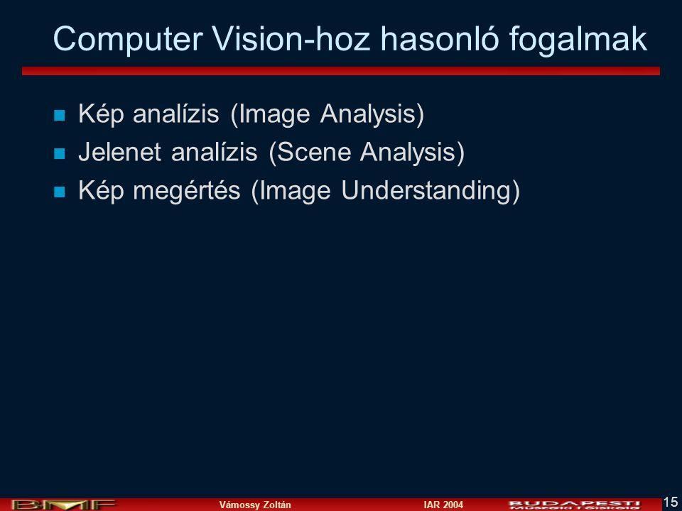 Vámossy Zoltán IAR 2004 15 Computer Vision-hoz hasonló fogalmak n Kép analízis (Image Analysis) n Jelenet analízis (Scene Analysis) n Kép megértés (Im