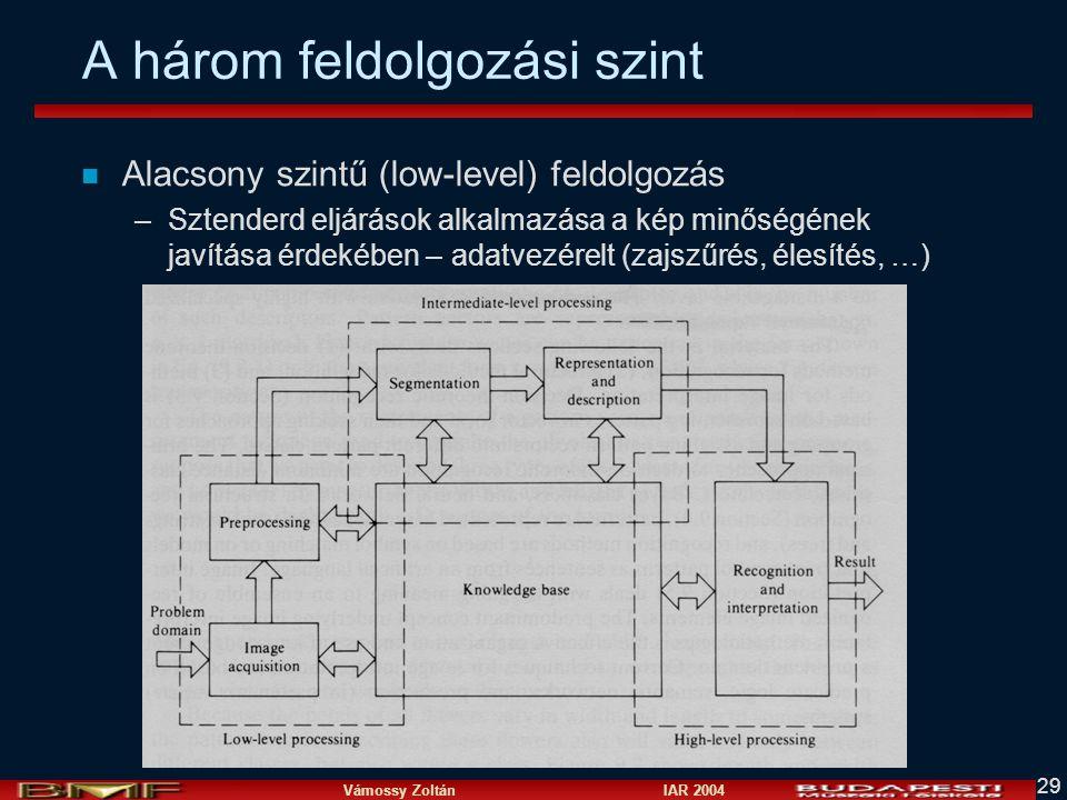 Vámossy Zoltán IAR 2004 29 A három feldolgozási szint n Alacsony szintű (low-level) feldolgozás –Sztenderd eljárások alkalmazása a kép minőségének javítása érdekében – adatvezérelt (zajszűrés, élesítés, …)