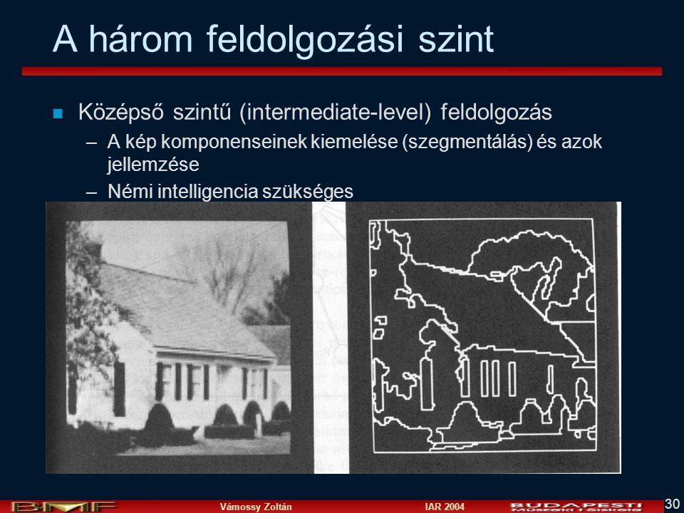 Vámossy Zoltán IAR 2004 30 n Középső szintű (intermediate-level) feldolgozás –A kép komponenseinek kiemelése (szegmentálás) és azok jellemzése –Némi i