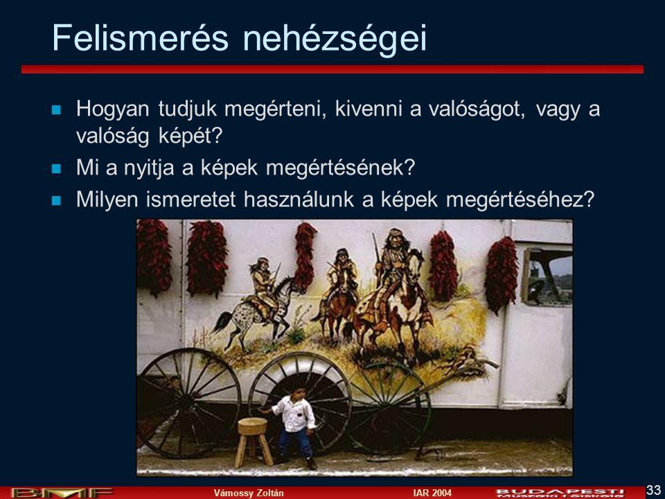 Vámossy Zoltán IAR 2004 33 Felismerés nehézségei n Hogyan tudjuk megérteni, kivenni a valóságot, vagy a valóság képét? n Mi a nyitja a képek megértésé