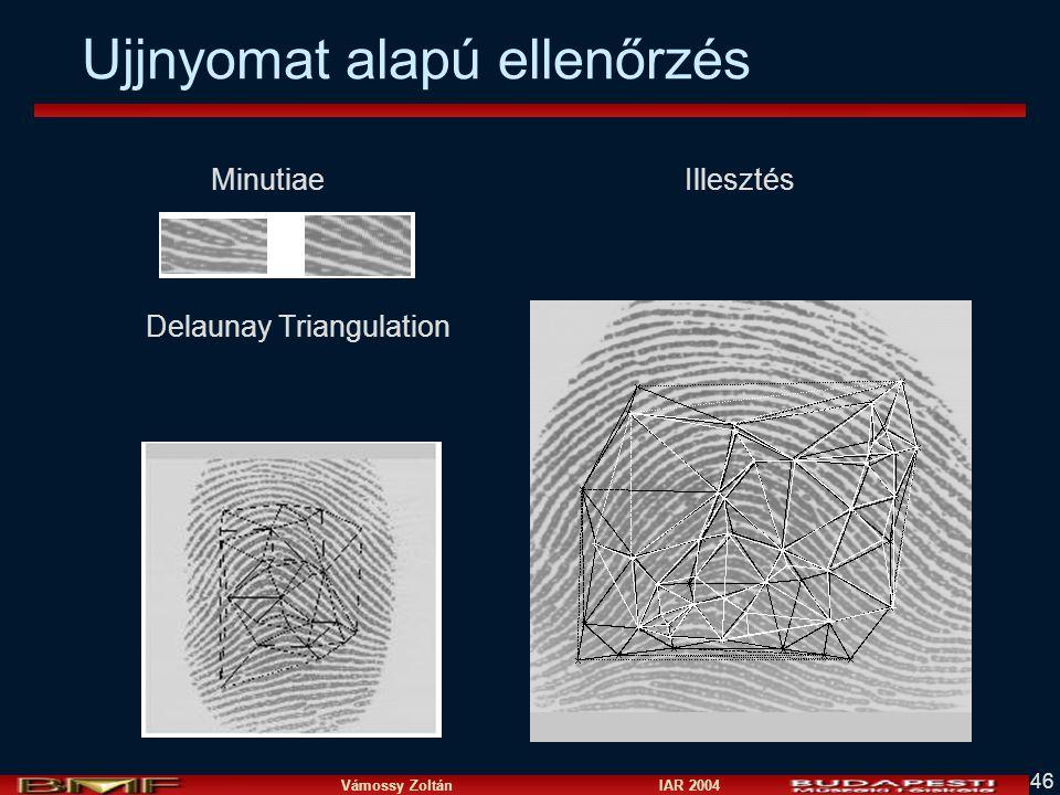 Vámossy Zoltán IAR 2004 46 Ujjnyomat alapú ellenőrzés Minutiae Illesztés Delaunay Triangulation