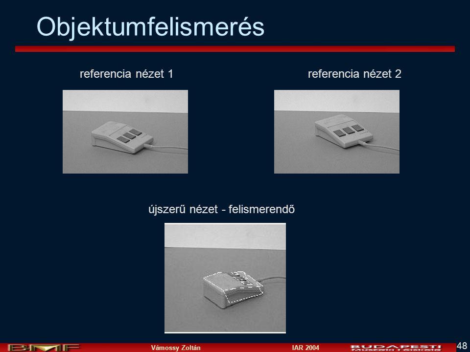 Vámossy Zoltán IAR 2004 48 Objektumfelismerés referencia nézet 1 referencia nézet 2 újszerű nézet - felismerendő