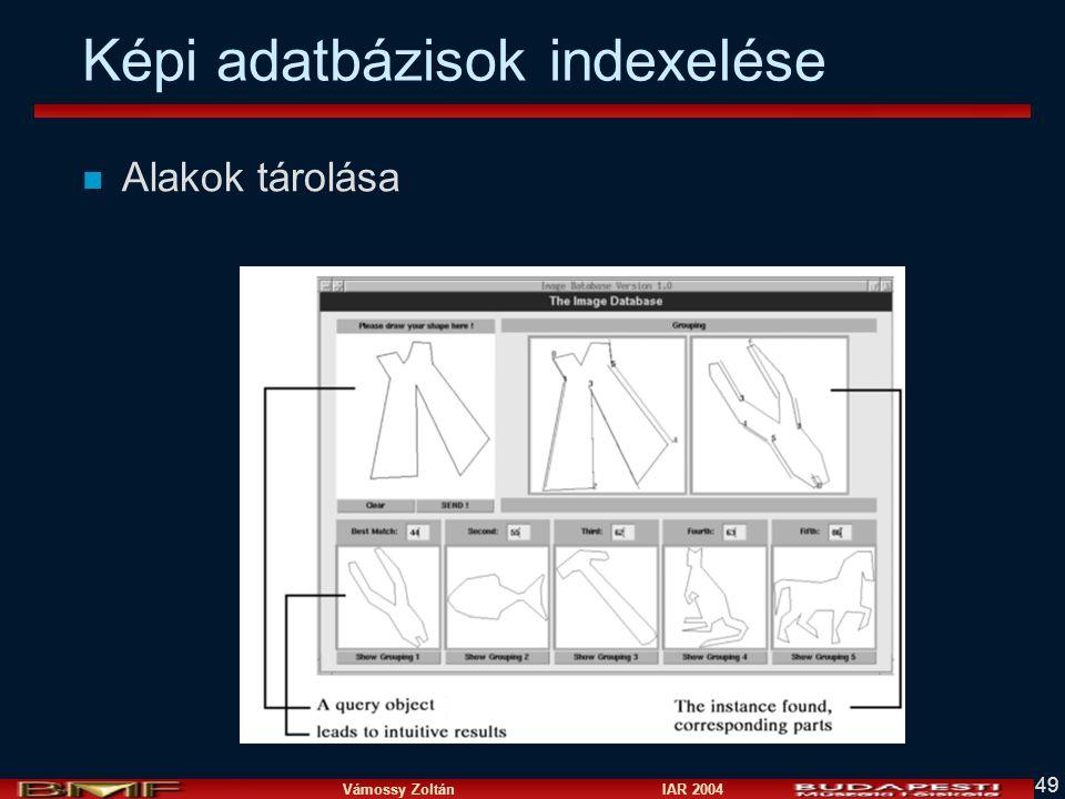 Vámossy Zoltán IAR 2004 49 Képi adatbázisok indexelése n Alakok tárolása