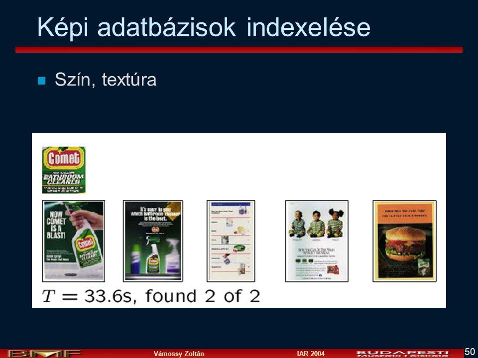 Vámossy Zoltán IAR 2004 50 Képi adatbázisok indexelése n Szín, textúra