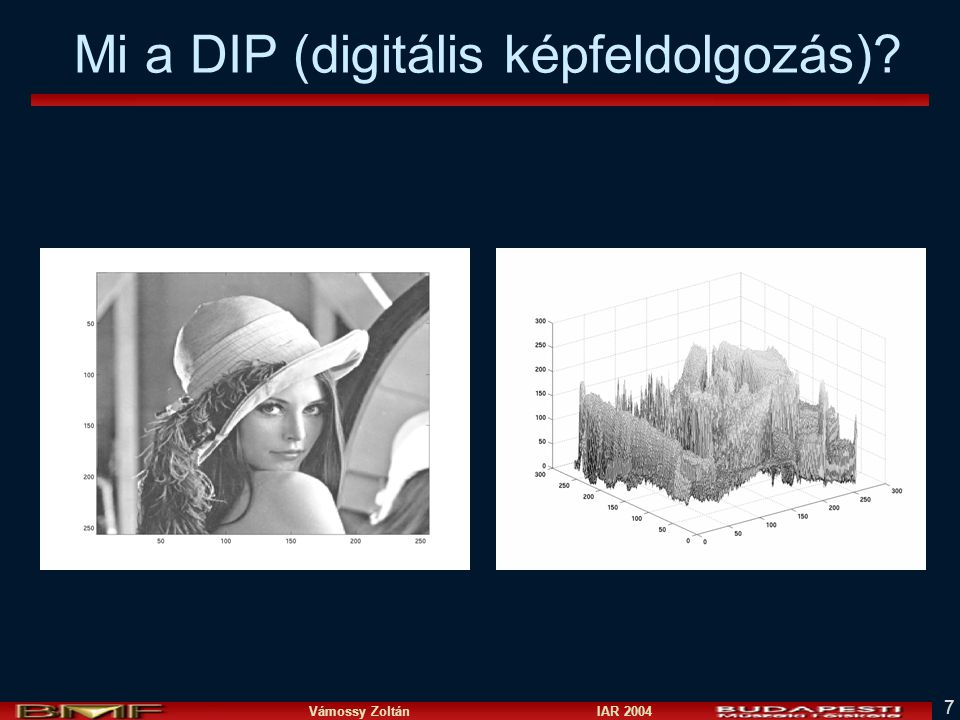 Vámossy Zoltán IAR 2004 7 Mi a DIP (digitális képfeldolgozás)?