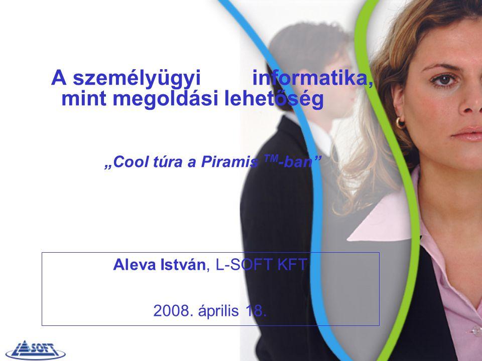 """A személyügyi informatika, mint megoldási lehetőség """"Cool túra a Piramis TM -ban"""" Aleva István, L-SOFT KFT 2008. április 18."""