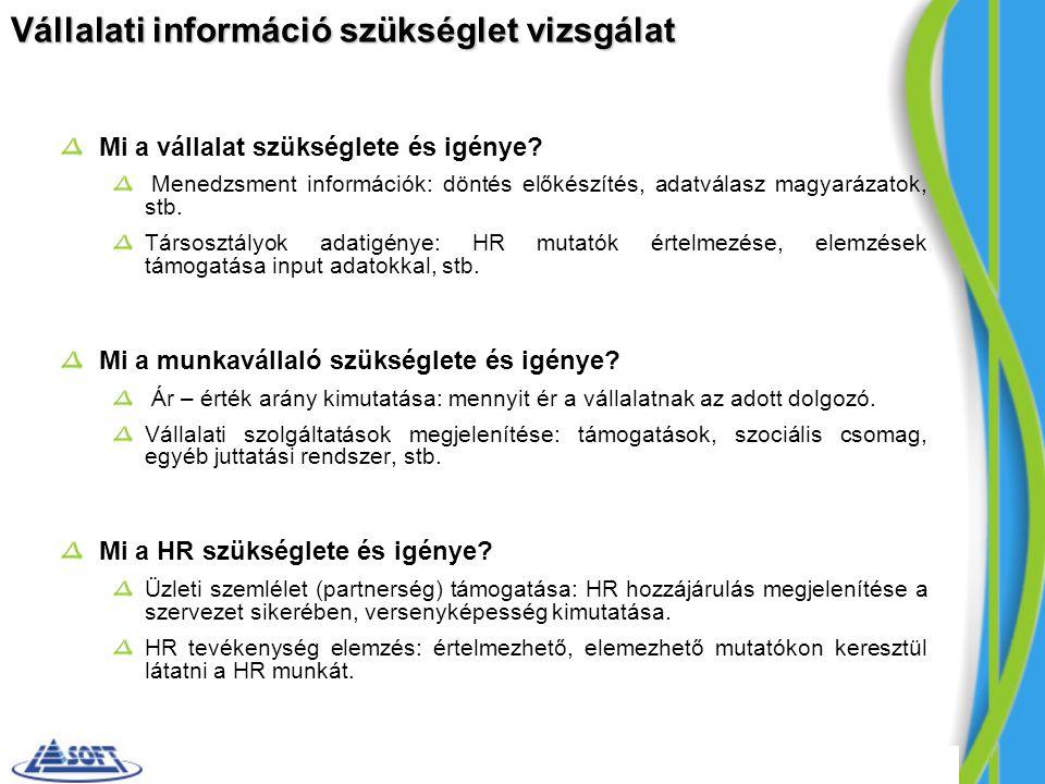 Vállalati információ szükséglet vizsgálat Mi a vállalat szükséglete és igénye? Menedzsment információk: döntés előkészítés, adatválasz magyarázatok, s
