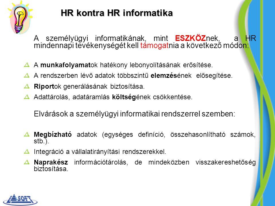 HR kontra HR informatika A személyügyi informatikának, mint ESZKÖZnek, a HR mindennapi tevékenységét kell támogatnia a következő módon: A munkafolyama
