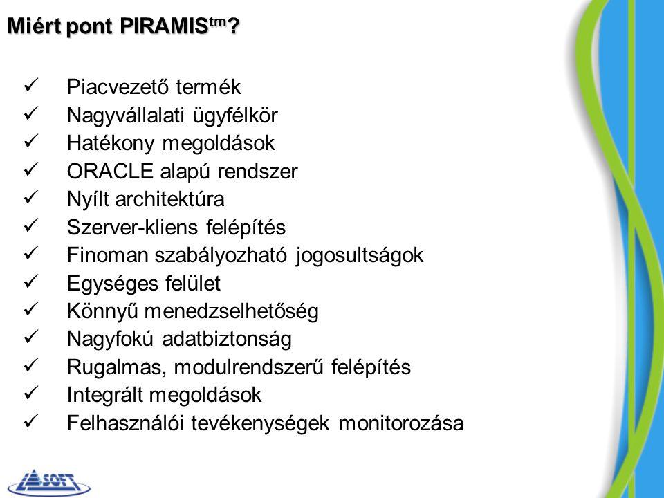 Miért pont PIRAMIS tm ? Piacvezető termék Nagyvállalati ügyfélkör Hatékony megoldások ORACLE alapú rendszer Nyílt architektúra Szerver-kliens felépíté