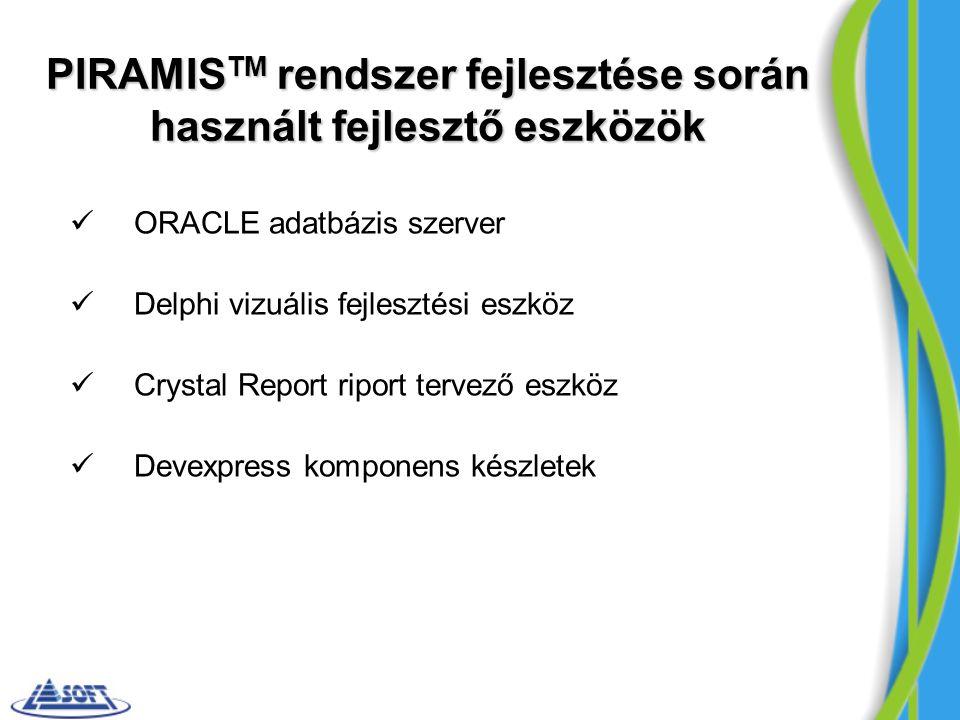 PIRAMIS TM rendszer fejlesztése során használt fejlesztő eszközök ORACLE adatbázis szerver Delphi vizuális fejlesztési eszköz Crystal Report riport te