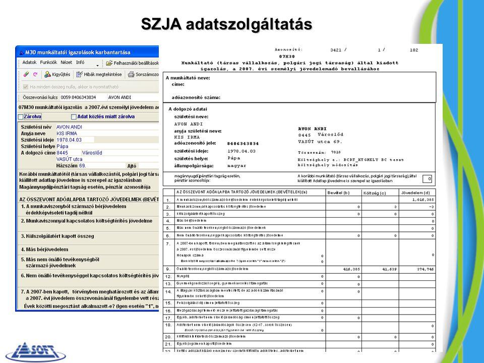 SZJA adatszolgáltatás