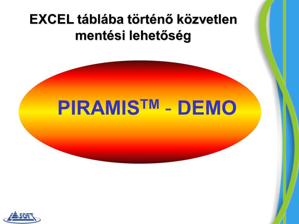 PIRAMIS TM - DEMO EXCEL táblába történő közvetlen mentési lehetőség