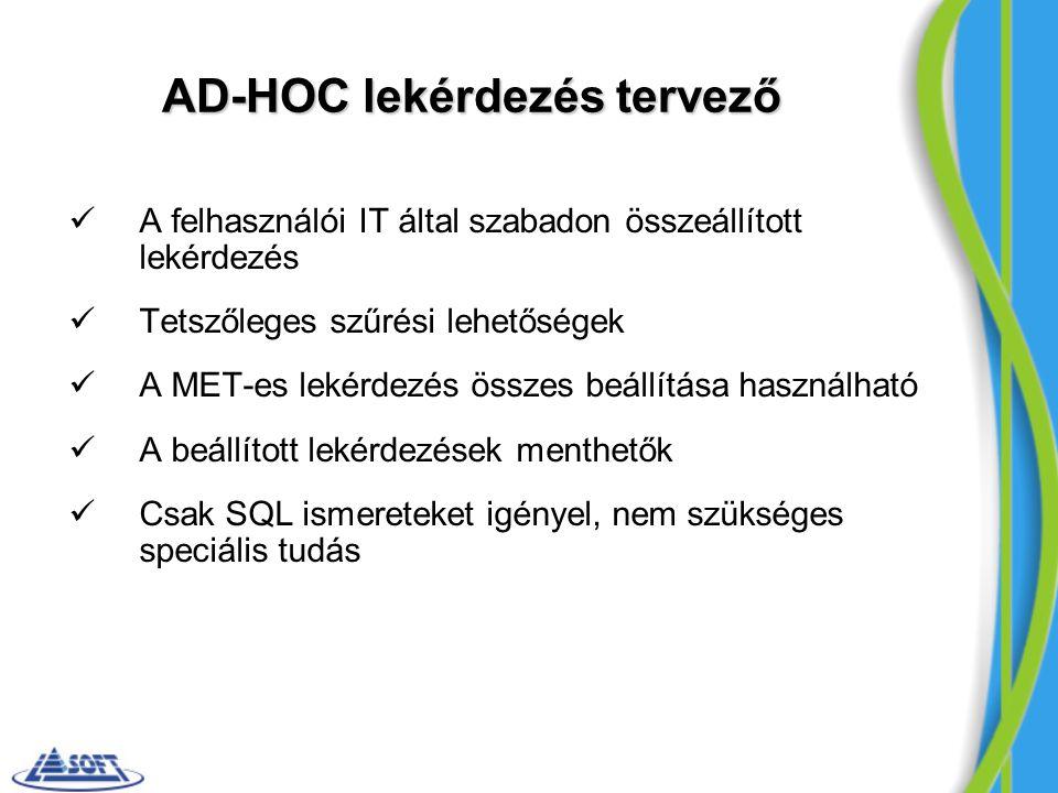 AD-HOC lekérdezés tervező A felhasználói IT által szabadon összeállított lekérdezés Tetszőleges szűrési lehetőségek A MET-es lekérdezés összes beállít