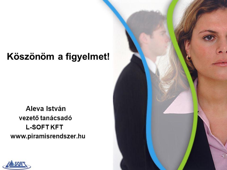 Köszönöm a figyelmet! Aleva István vezető tanácsadó L-SOFT KFT www.piramisrendszer.hu