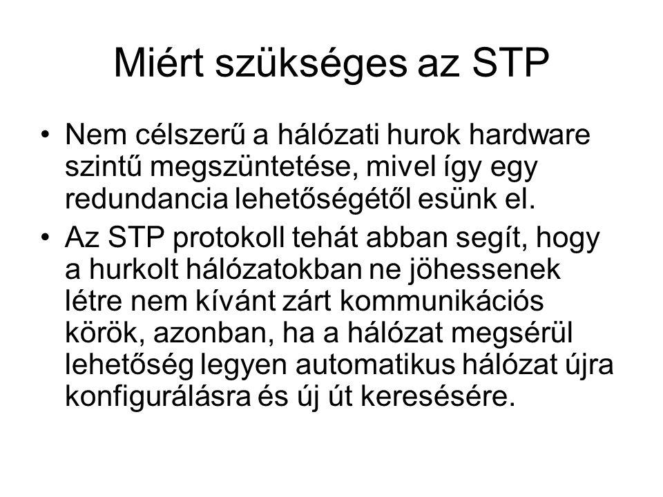 Miért szükséges az STP Nem célszerű a hálózati hurok hardware szintű megszüntetése, mivel így egy redundancia lehetőségétől esünk el. Az STP protokoll