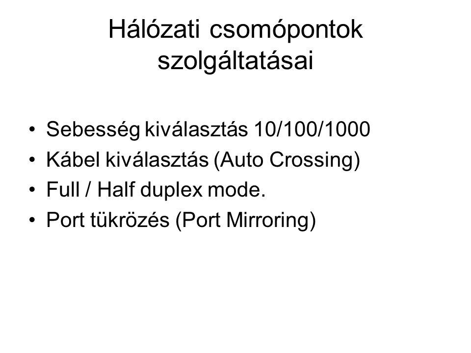 Hálózati csomópontok szolgáltatásai Sebesség kiválasztás 10/100/1000 Kábel kiválasztás (Auto Crossing) Full / Half duplex mode. Port tükrözés (Port Mi
