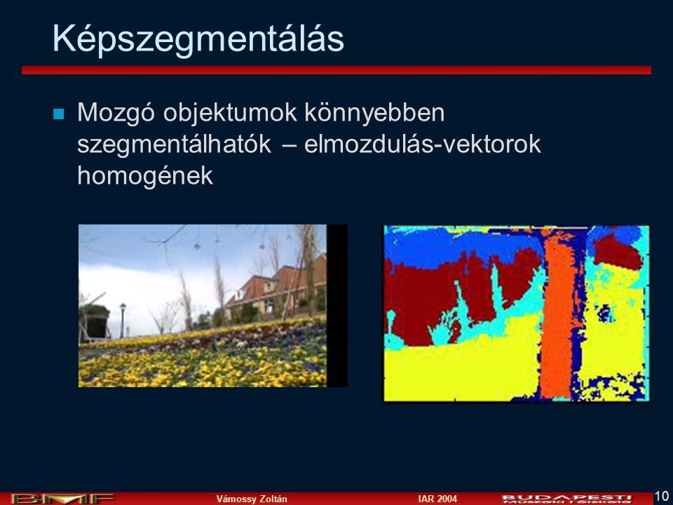 Vámossy Zoltán IAR 2004 10 Képszegmentálás n Mozgó objektumok könnyebben szegmentálhatók – elmozdulás-vektorok homogének
