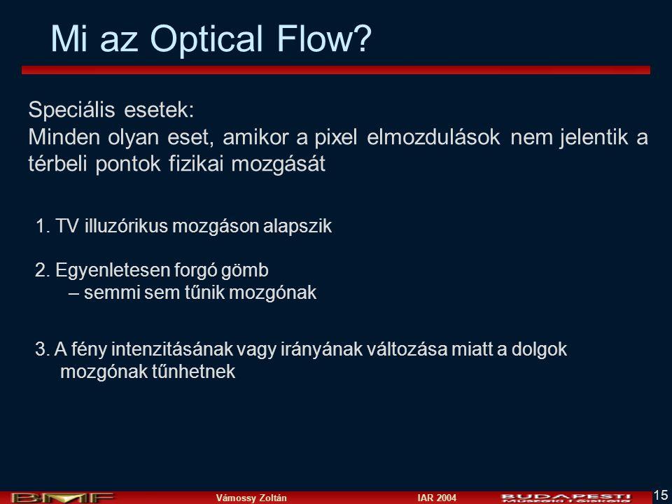 Vámossy Zoltán IAR 2004 15 Mi az Optical Flow? Speciális esetek: Minden olyan eset, amikor a pixel elmozdulások nem jelentik a térbeli pontok fizikai