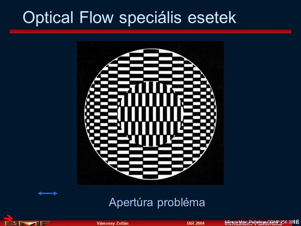 Vámossy Zoltán IAR 2004 16  * From Marc Pollefeys COMP 256 2003 Optical Flow speciális esetek Apertúra probléma