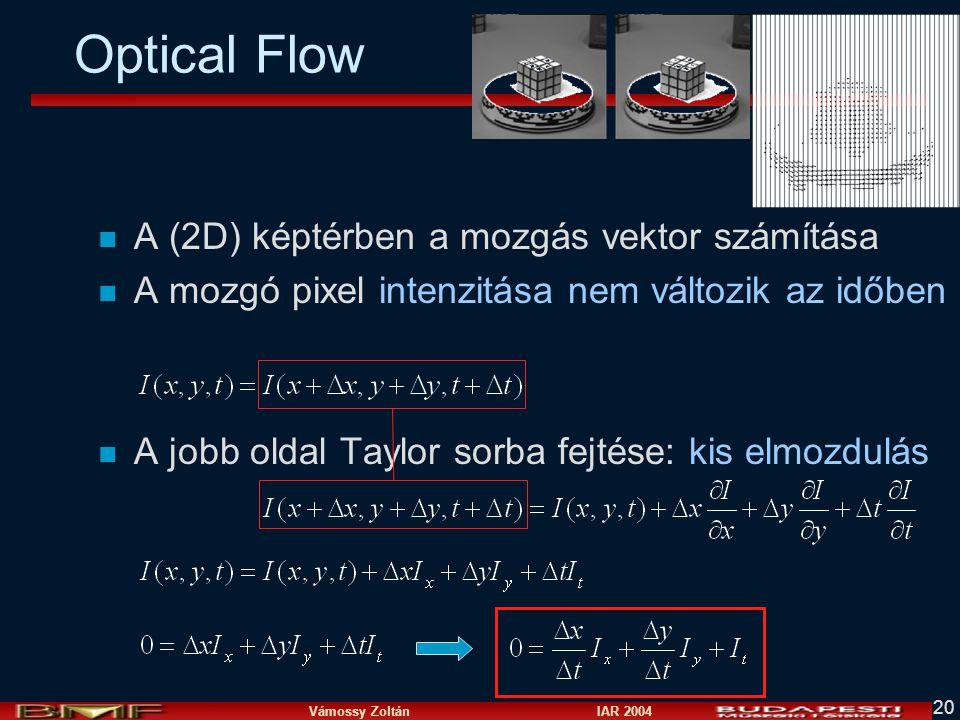 Vámossy Zoltán IAR 2004 20 Optical Flow n A (2D) képtérben a mozgás vektor számítása n A mozgó pixel intenzitása nem változik az időben n A jobb oldal