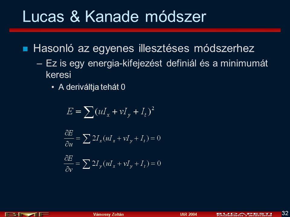 Vámossy Zoltán IAR 2004 32 Lucas & Kanade módszer n Hasonló az egyenes illesztéses módszerhez –Ez is egy energia-kifejezést definiál és a minimumát ke